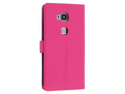 Synthetic Leather Wallet Case with Stand for Huawei GR5 - Pink Leather Wallet Case