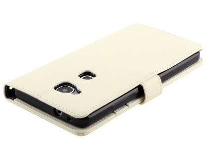 Synthetic Leather Wallet Case with Stand for Huawei GR5 - Pearl White