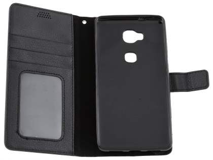 Synthetic Leather Wallet Case with Stand for Huawei GR5 - Classic Black