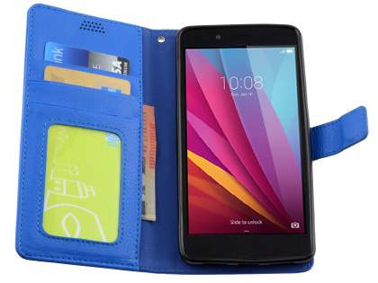 Synthetic Leather Wallet Case with Stand for Huawei GR5 - Blue