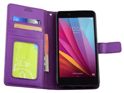 Synthetic Leather Wallet Case with Stand for Huawei GR5 - Purple