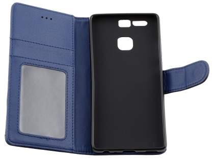 Synthetic Leather Wallet Case with Stand for Huawei P9 - Dark Blue