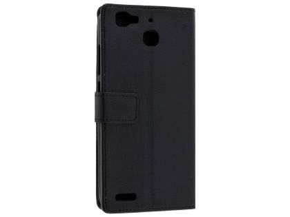 Slim Synthetic Leather Wallet Case with Stand for Huawei GR3 - Classic Black Leather Wallet Case