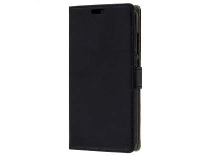Slim Synthetic Leather Wallet Case with Stand for Huawei GR3 - Classic Black
