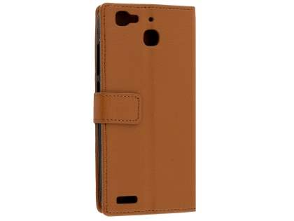 Slim Synthetic Leather Wallet Case with Stand for Huawei GR3 - Brown Leather Wallet Case