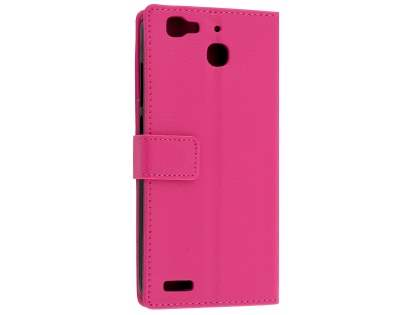 Slim Synthetic Leather Wallet Case with Stand for Huawei GR3 - Pink Leather Wallet Case