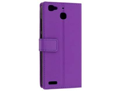 Slim Synthetic Leather Wallet Case with Stand for Huawei GR3 - Purple Leather Wallet Case