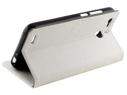 Slim Synthetic Leather Wallet Case with Stand for Huawei GR3 - Pearl White