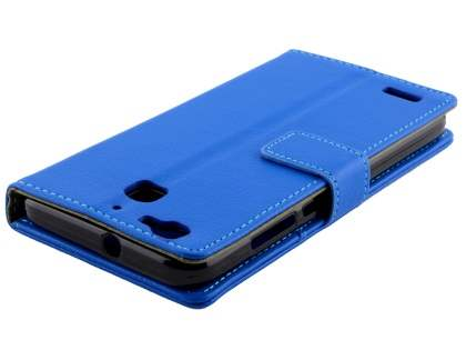 Slim Synthetic Leather Wallet Case with Stand for Huawei GR3 - Blue