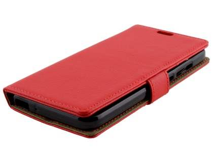 Slim Synthetic Leather Wallet Case with Stand for Huawei GR3 - Red