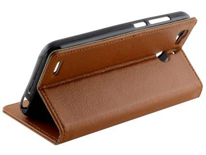 Slim Synthetic Leather Wallet Case with Stand for Huawei GR3 - Brown