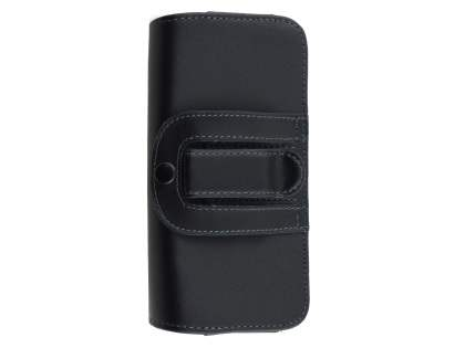 Extra-tough Genuine Leather ShineColours belt pouch for Huawei GR5 (Bumper Case Compatible) - Classic Black
