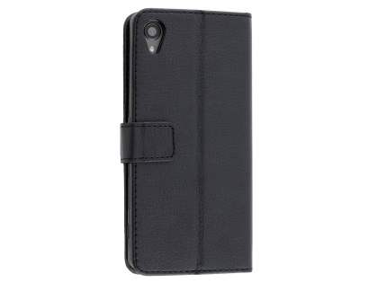 Slim Synthetic Leather Wallet Case with Stand for Sony Xperia XA - Classic Black Leather Wallet Case