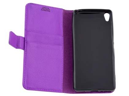 Slim Synthetic Leather Wallet Case with Stand for Sony Xperia XA - Purple
