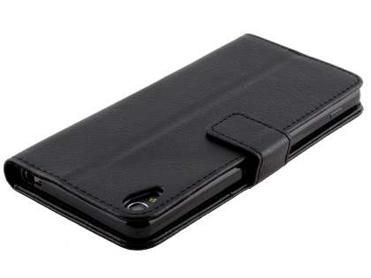 Slim Synthetic Leather Wallet Case with Stand for Sony Xperia XA - Classic Black