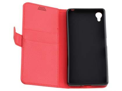 Slim Synthetic Leather Wallet Case with Stand for Sony Xperia X - Red