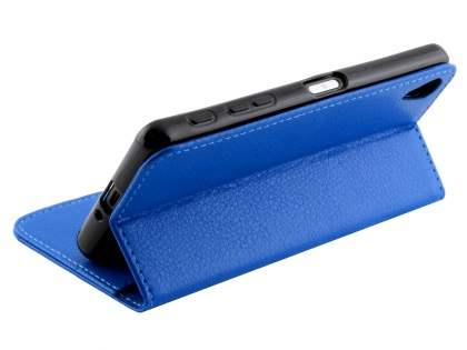 Slim Synthetic Leather Wallet Case with Stand for Sony Xperia X - Blue