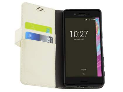 Slim Synthetic Leather Wallet Case with Stand for Sony Xperia X - Pearl White