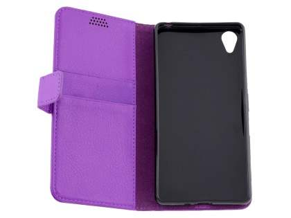 Slim Synthetic Leather Wallet Case with Stand for Sony Xperia X - Purple