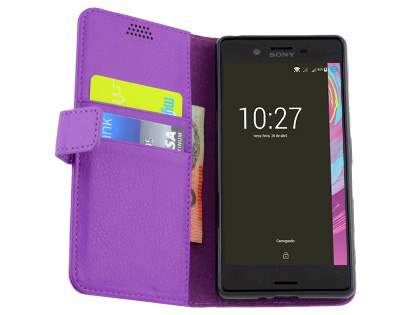 Slim Synthetic Leather Wallet Case with Stand for Sony Xperia X Performance - Purple