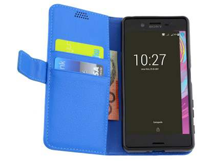 Slim Synthetic Leather Wallet Case with Stand for Sony Xperia X Performance - Blue
