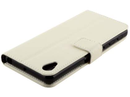 Slim Synthetic Leather Wallet Case with Stand for Sony Xperia X Performance - Pearl White
