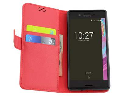 Slim Synthetic Leather Wallet Case with Stand for Sony Xperia X Performance - Red