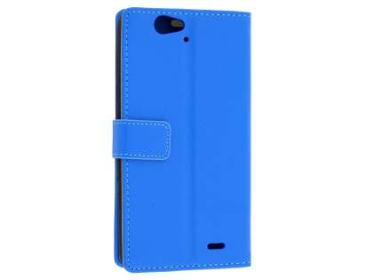 Slim Synthetic Leather Wallet Case with Stand for Telstra 4GX HD - Blue Leather Wallet Case