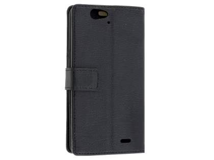 Slim Synthetic Leather Wallet Case with Stand for Telstra 4GX HD - Classic Black Leather Wallet Case