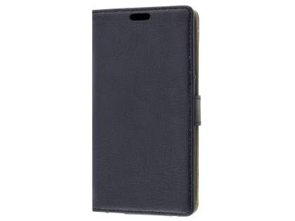 Slim Synthetic Leather Wallet Case with Stand for Telstra 4GX HD - Classic Black