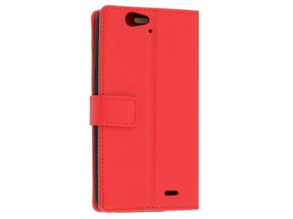 Slim Synthetic Leather Wallet Case with Stand for Telstra 4GX HD - Red Leather Wallet Case