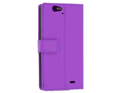 Slim Synthetic Leather Wallet Case with Stand for Telstra 4GX HD - Purple Leather Wallet Case