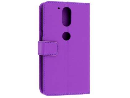 Slim Synthetic Leather Wallet Case with Stand for Motorola Moto G4/G4 Plus - Purple Leather Wallet Case
