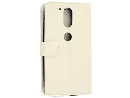 Slim Synthetic Leather Wallet Case with Stand for Motorola Moto G4/G4 Plus - Pearl White Leather Wallet Case