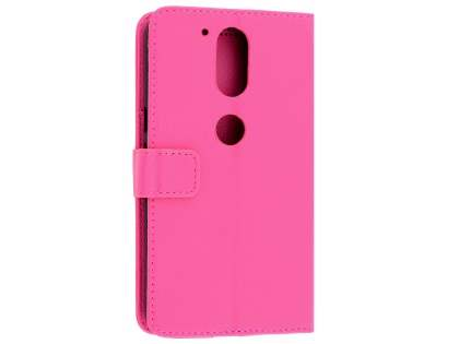 Slim Synthetic Leather Wallet Case with Stand for Motorola Moto G4/G4 Plus - Pink Leather Wallet Case