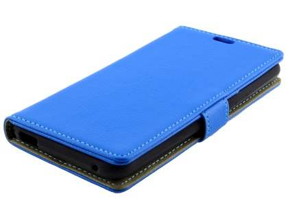 Slim Synthetic Leather Wallet Case with Stand for Telstra 4GX HD - Blue