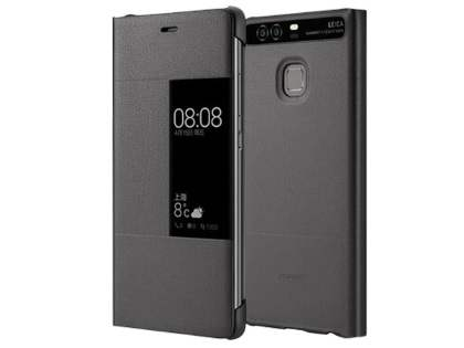 huawei p9 grey. official huawei p9 smart view flip case - dark grey t