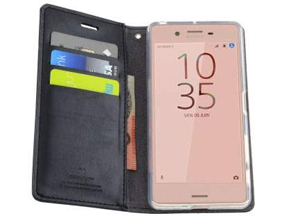 Mercury Blue Moon Wallet Case for Sony Xperia X Performance - Classic Black