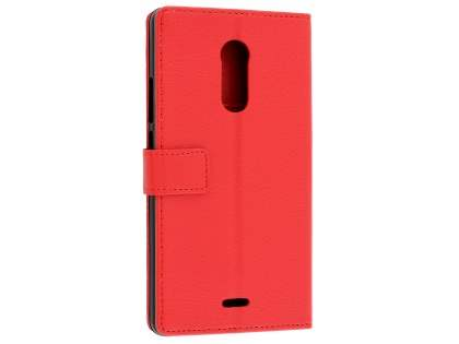 Slim Synthetic Leather Wallet Case with Stand for ZTE Blade V Plus - Red Leather Wallet Case