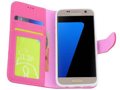 Synthetic Leather Wallet Case with Stand for Samsung Galaxy S7 - Hot Pink