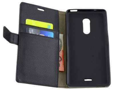 Slim Synthetic Leather Wallet Case with Stand for ZTE Blade V Plus - Classic Black