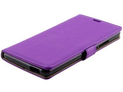 Slim Synthetic Leather Wallet Case with Stand for ZTE Blade V Plus - Purple