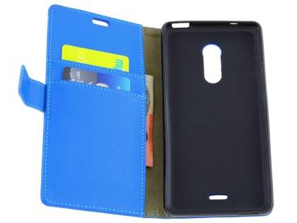 Slim Synthetic Leather Wallet Case with Stand for ZTE Blade V Plus - Blue
