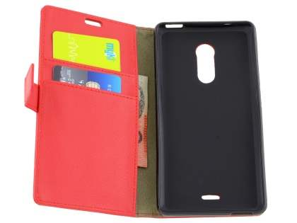 Slim Synthetic Leather Wallet Case with Stand for ZTE Blade V Plus - Red