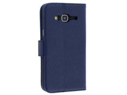 Samsung Galaxy J3 (2016) Synthetic Leather Wallet Case with Stand - Dark Blue