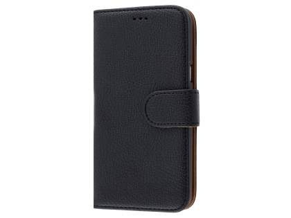 Samsung Galaxy J3 (2016) Synthetic Leather Wallet Case with Stand - Classic Black