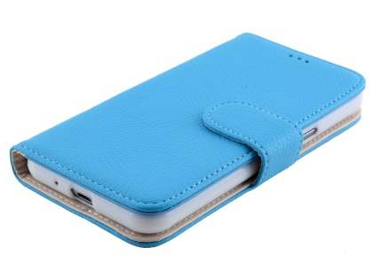 Samsung Galaxy J3 (2016) Synthetic Leather Wallet Case with Stand - Sky Blue