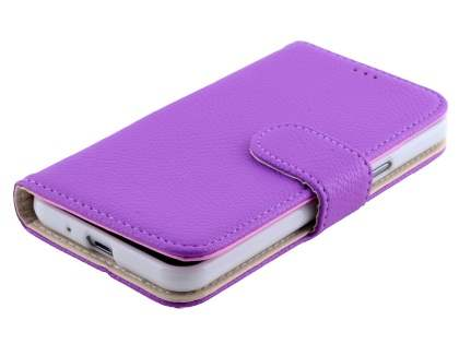 Samsung Galaxy J3 (2016) Synthetic Leather Wallet Case with Stand - Purple