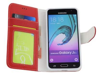 Samsung Galaxy J3 (2016) Synthetic Leather Wallet Case with Stand - Red