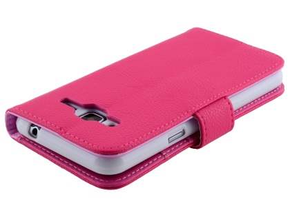 Samsung Galaxy J3 (2016) Synthetic Leather Wallet Case with Stand - Pink